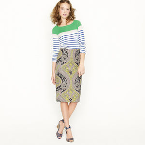 J.Crew Sovereign Paisley Long No.2 Pencil Skirt